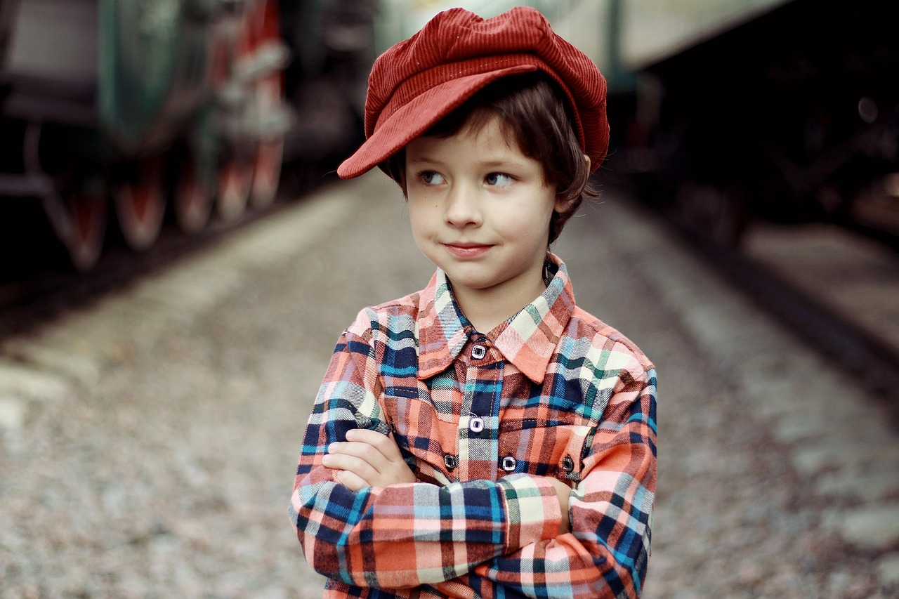 Boy on train track